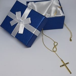 Jewelry - 14k Gold over Solid Silver Cross Lariat Necklace